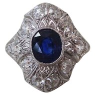 Art Deco Natural Sapphire & Diamond Engagement Wedding Birthstone Ring Platinum