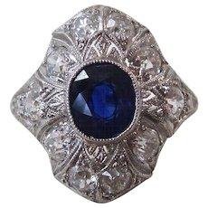 Art Deco Natural Sapphire & Diamond Engagement Wedding Birthstone Ring Platinum