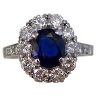 Tiffany Natural Sapphire & VS Diamond Estate Engagement, Wedding,  Birthstone Halo Ring Platinum
