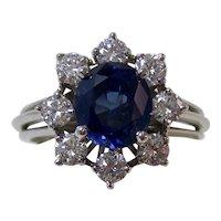 Natural No Heat Blue Sapphire & Diamond Engagement Birthstone Anniversary Estate Halo Ring Platinum