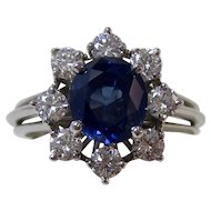 Natural No Heat Blue Sapphire & Diamond Engagement Birthstone Anniversary Estate Halo Ring Platinum