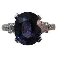 Natural Sapphire & Diamond Estate Engagement Anniversary Birthstone Ring 18K