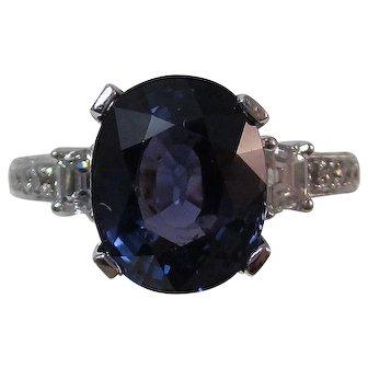 Natural Purple Sapphire & Diamond Estate Engagement Anniversary Birthstone Ring 18K