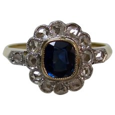 Antique Edwardian Natural Sapphire Diamond Engagement Wedding Birthstone Ring 18K