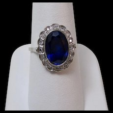 Art Deco Estate Engagement Wedding Birthstone Sapphire & Diamond Ring Platinum