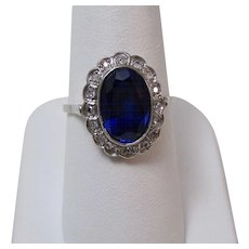 Art Deco Estate Engagement Wedding Birthstone Sapphire & Diamond Ring Platinum
