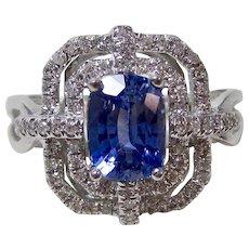 Natural Ceylon Sapphire & Diamond Estate Engagement Wedding Birthstone Ring 14K