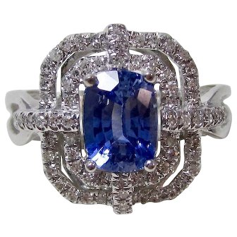 Natural Ceylon Sapphire & Diamond Estate Engagement Wedding Birthstone Ring 14K