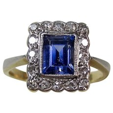Vintage Art Deco Sapphire & Diamond Engagement Wedding Birthstone Ring 18K Platinum