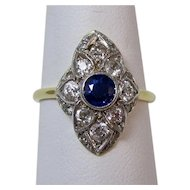 Estate Art Deco 1920's Natural Sapphire & Diamond Engagement, Anniversary Birthstone Ring 18K