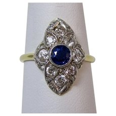 Estate Art Deco 1920's Natural Sapphire & Diamond Engagement, Anniversary Birthstone Ring 18K