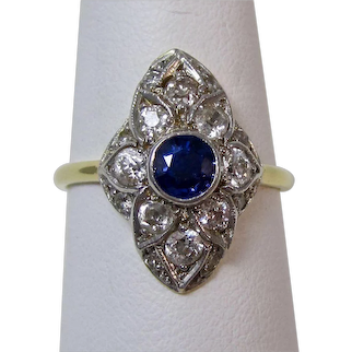 Estate Art Deco 1920's Natural Sapphire & Diamond Ring 18K