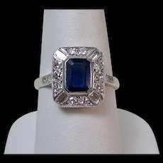 Edwardian Natural Sapphire & VS Diamond Ring 18K