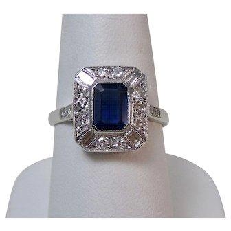 Edwardian Natural Sapphire & VS Diamond Ring 18K