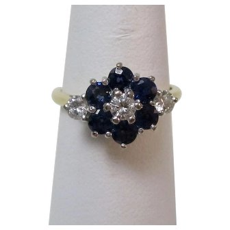 Art Deco Estate Sapphire & Diamond Floral Engagement Birthstone Ring 18K