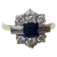 Vintage Estate Natural Sapphire & Diamond Engagement Wedding Birthstone Ring Platinum 18K