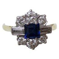 Vintage Estate Natural Sapphire & Diamond Engagement Wedding Birthstone Ring Platinum 18K