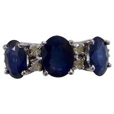 Wedding Birthstone Estate Natural Sapphire & Diamond Ring 14K