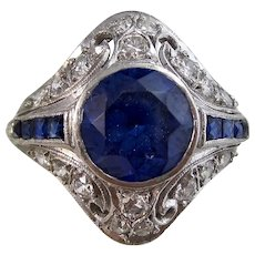 Magnificent Estate Sapphire & Diamond Engagement Wedding Birthstone Cocktail Ring Platinum