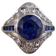 Magnificent Estate Sapphire & Diamond Engagement Wedding Birthstone Cocktail Ring Platinum