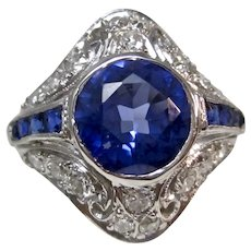 Magnificent Estate Art Deco Sapphire & Diamond Cocktail Ring Platinum
