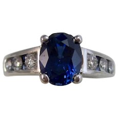 Vintage Estate Sapphire & Diamonds Engagement/Wedding/Birthstone Ring Platinum