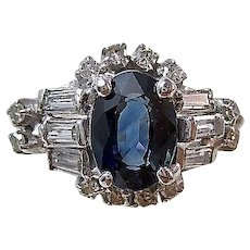 Vintage Estate Natural Sapphire & Diamond Engagement Wedding Birthstone Ring 18K