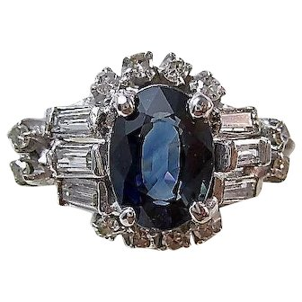 Vintage Estate Natural Sapphire & Diamond Engagement Wedding Birthstone Ring 18K