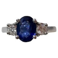 Vintage Estate Natural Sapphire & Diamond Wedding Day Birthstone Anniversary Ring Platinum