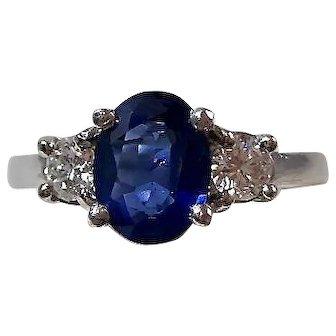 Vintage Estate Natural Sapphire & Diamond Wedding Day Birthstone Anniversary Ring Platinum