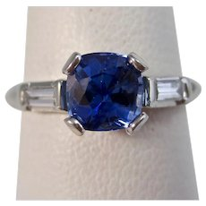 Vintage Estate Natural Ceylon Sapphire & Diamond Engagement Birthstone Ring Platinum