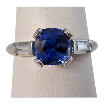 Vintage Estate Art Deco Ceylon Sapphire & Diamond Engagement Ring Platinum