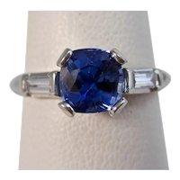 Vintage Estate Natural Ceylon Sapphire & Diamond Engagement Ring Platinum