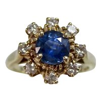 Vintage Estate Natural Sapphire & Diamond Ring 14K