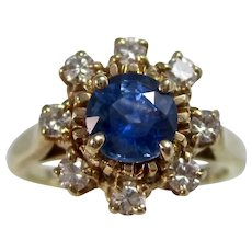 Vintage Estate Natural Sapphire & Diamond Engagement Birthstone Ring 14K
