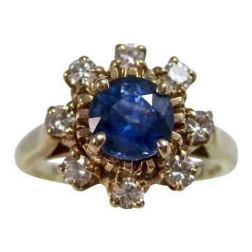 Vintage Estate Natural Sapphire & Diamond Ring 14K