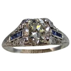 Vintage Estate Art Deco 1930's Diamond & Sapphire Engagement Wedding Birthstone Ring Platinum