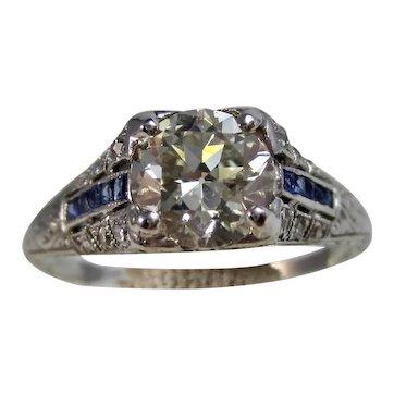 Vintage Estate Art Deco 1930's Diamond & Sapphire Engagement Ring Platinum