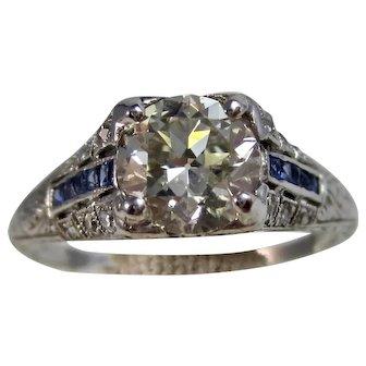 Vintage Estate Art Deco 1930's Diamond & Sapphire Engagement Wedding Birthstone Ring Platinum