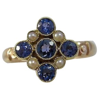 Antique Victorian Natural Sapphire & Natural Seed Pearl Engagement Birthstone Ring 14K