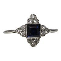 Estate Vintage Art Deco Sapphire Diamond Engagement Ring 18K Platinum