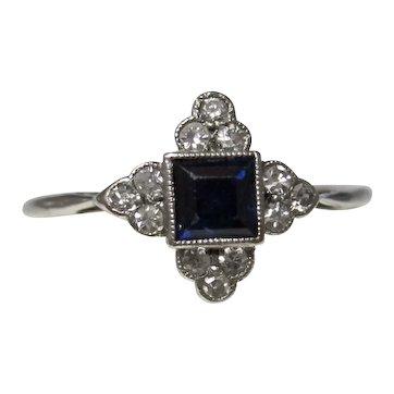 Estate Vintage Art Deco Sapphire Diamond Engagement Ring 18K Platinum