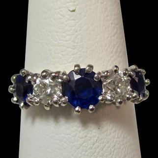 Antique Edwardian 5 Stone Sapphire & Diamond Wedding Anniversary Ring 18K
