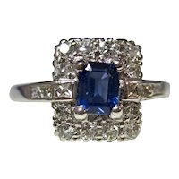 Vintage Estate Art Deco Natural Sapphire & Diamond Ring Platinum