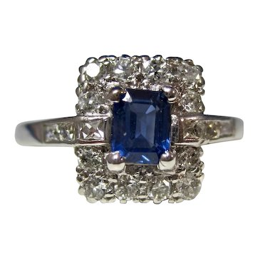 Vintage Estate Art Deco Natural Sapphire & Diamond Ring Platinum