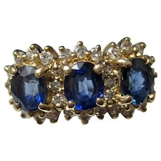 Vintage Estate 1960's Natural Sapphire & Diamond Birthstone Ring 14K