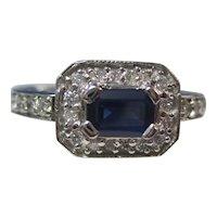 Vintage Estate Sapphire Engagement Birthstone Halo Ring 14K