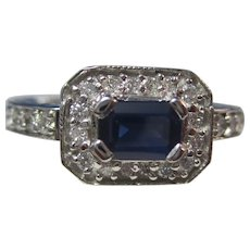 Vintage Estate Sapphire Engagement Birthstone Halo Ring 14K
