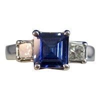 Vintage Estate Ceylon Sapphire Diamond Engagement Ring Platinum