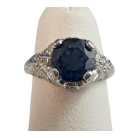 Estate 1970's Natural Sapphire Diamond Engagement Birthstone Ring Platinum